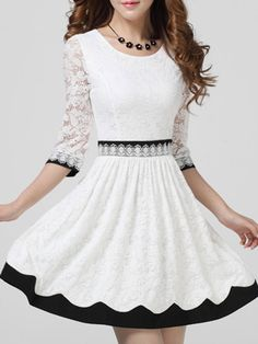 White Lace Three Quarter Sleeve Dress With Contrast Color Hem