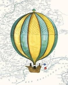 Vintage Striped Air Balloon Posters by Hope Smith at AllPosters.com