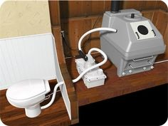 Envirolet SmartFlush.  Gravity not required! Toilet can flush 6' up and more than 50' away from compost tank. Uses as little as 0.2L of water per flush.  Would be nice to have a bump out or shed to accommodate the storage tank and maybe a compact washer/dryer as well.