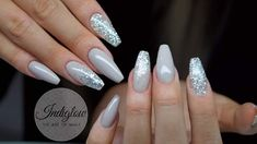 Art Of Nails With Gray And Glittery Silver