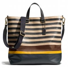 Coach :: BLEECKER DAY TOTE IN BAR STRIPE LEATHER STYLE NO. 71197