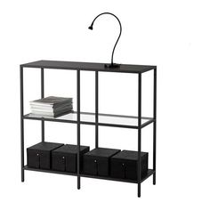 VITTSJÖ Hylla - svartbrun/glas - IKEA