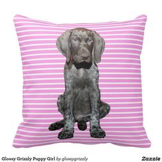 Glossy Grizzly Puppy Girl Pillows