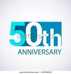 Template Logo 50th anniversary. Blue colored.