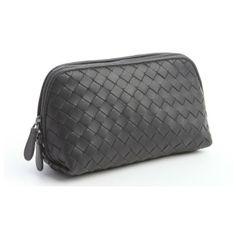 Bottega Veneta Grey intrecciato leather small cosmetics case found on Polyvore