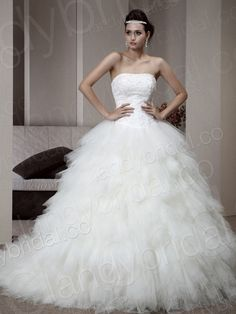 ivory strapless corset wedding ball gown with chapel train