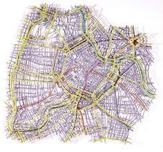 Matthew Picton Vienna ~ Duralar, enamel paint, pins, 2006. 35″ x 35″ x 3″