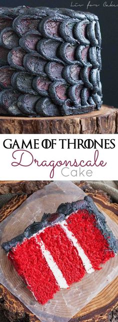 Looking for some Game of Thrones food? Use this simple decorating technique to create the perfect red velvet Dragonscale Cake and impress your Game of Thrones loving friends! Game Of Thrones Torte, Game Of Thrones Food, Game Of Thrones Birthday Cake, Game Of Thrones Cocktails, Drogon Game Of Thrones, Game Of Thrones Decor, Beautiful Cakes, Amazing Cakes, Cake Recipes