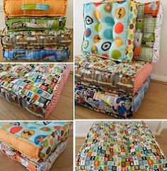 Inspired by cushions at my son's school, called waffles by his friends, a fun and practical solution to seating everyone.