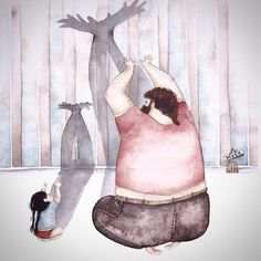 """Illustrations of a father and his daughter - by Snezhana Soso. """"The sky is fantasy"""""""