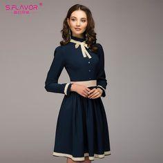 R  51.96 65% de desconto S. SABOR mulheres A line vestido de venda quente  do vintage sólida rendas patchwork na altura do joelho de comprimento  vestidos ... 5b8be9d58810