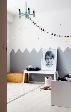 KOTIPALAPELI, ihana huone! pallonauhaa, vuoria ja tähtiä seinässä