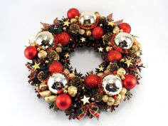 Christmas Wreath Ornament Wreath Pinecone Wreath by ZielonePalce