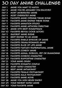 30 Day Anime Challenge, text; Otaku