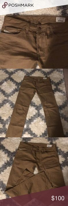 Diesel Safado Slim-straight jeans- Color natural Mint condition Diesel Safado jeans in Natural size 31 but can fit a size 32. waist Button zipper and slim- straight through the legs. Color is a mix between brown and gold giving it a really cool earthy color. As you can tell the pic on the diesel website makes the jeans look way lighter than they are. The photos I've taken show the jeans true color! This way you will know exactly what you are purchasing! Diesel Jeans Slim Straight
