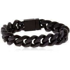 Northskull Men Rubberized Chain Bracelet ($270) ❤ liked on Polyvore featuring men's fashion, men's jewelry, men's bracelets, black, mens watches jewelry, mens chains, mens chain link bracelets, mens rubber bracelets and mens bracelets