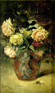 ❀ Blooming Brushwork ❀ - garden and still life flower paintings - Flowers in Vase by Theodor Aman