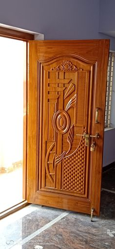 My work Source by ediganageswari. Door Design Wood, Pooja Room Door Design, Single Main Door Designs, Wooden Doors Interior, Window Grill Design, Wooden Main Door, Door Glass Design