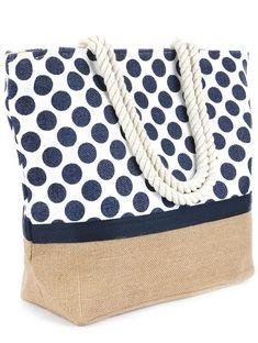 Polka Dot Print Beach Tote Accessory Bag More Polka Dot Bags, Polka Dots, Look Jean, Jute Bags, Fabric Bags, Beach Tote Bags, Summer Bags, Tote Purse, Fashion Bags