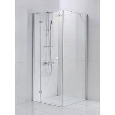 Porte de douche pivotante SENSEA Premium 2   paroi fixe verre transparent chromé