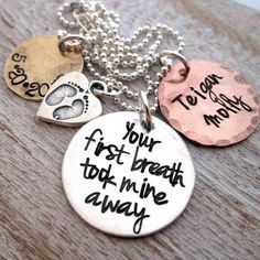 Mothers Necklace - Mixed Metal Your First Breath - hand stamped necklace - mom jewelry