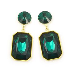 Stunning statement earrings available in a range of colourful Swarovski crystal combinations to express your individual style. These earrings are long with a rectangle shaped stone hanging from a classic disc shape,. Emerald Earrings, Gemstone Earrings, Statement Earrings, Women's Earrings, Earring Trends, Kendra Scott Jewelry, Rectangle Shape, Jewel Tones, Designer Earrings