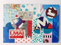 Postkarte: Collage aus Papierschnipseln postcard made of paper scraps #diypostcardswap fall 2015
