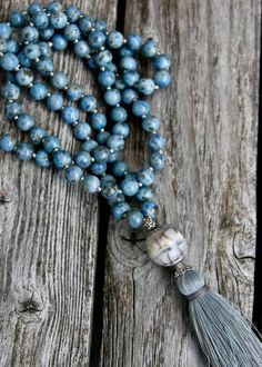 Long Tassel Necklace with Denim Lapis Round Beads by NORDeastHOME