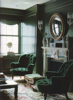 Love all the emerald green in this room.