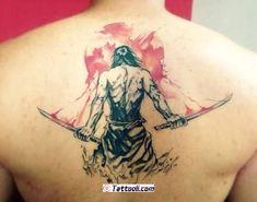 Samurai back watercolour tattoo done at Gatto Matto Tattoo Studio Simbols Tattoo, Tatoo 3d, Back Tattoo, Tattoo Drawings, Demon Tattoo, Yakuza Tattoo, Asian Tattoos, Top Tattoos, Body Art Tattoos