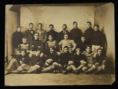 """Rare 1895 Latrobe Athletic Association team photograph incl. John Brallier. Sepia toned 7""""x9"""" photograph depicts the 1895 Latrobe, PA football team including player John Brallier whom is acknowledged as one of the earliest professionals in the game. Athough research has turned up a small number of players whom accepted pay to play prior, Brallier was the first to openly accept financial remuneration."""