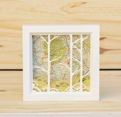 FREE SHIPPING birches . 5 x 5 . cut paper shadow box by birdmafia, $65.00