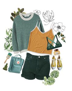 """Green & yellow "" by xeptum ❤ liked on Polyvore featuring art"