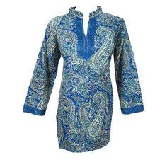 Mogulinterior Bohemian Kurta Top Blue Paisley Printed Womens Indian Tunic Blouse M