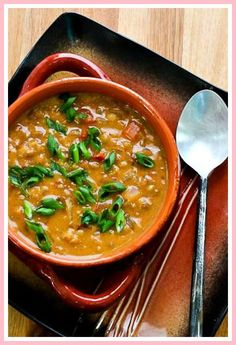 African-Inspired Vegetarian Crockpot Soup with Peanut Butter, Chiles, Brown Rice, and Lentils would be delicious for Meatless Monday, or any time you want an interesting soup! Vegetarian Crockpot Soup, Vegan Slow Cooker, Slow Cooker Soup, Vegetarian Recipes, Ovo Vegetarian, Healthy Meals For Two, Healthy Crockpot Recipes, Slow Cooker Recipes, Soup Recipes