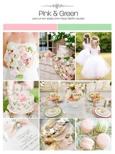 Pink and green inspiration board, color palette, mood board
