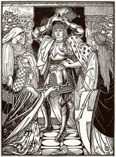 They harnessed him from head to foot, with what was of proof, lest perhaps he should meet with assaults in the way. Woolliscroft Rhead, from The pilgrim's progress from this world to that which is. The Pilgrim's Progress, John Bunyan, Aubrey Beardsley, Scrapbook Blog, Knight In Shining Armor, Camping Crafts, Detail Art, Fairy Land, Tag Art
