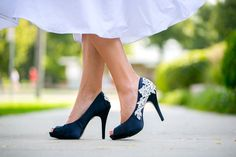 Wedding Shoes - Navy Blue Wedding Heels with Ivory Lace. US Size 6. $89.00, via Etsy.