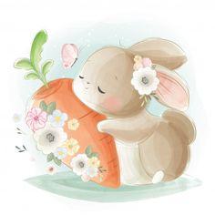 Bunny And Butterfly - Hase Bunny Drawing, Bunny Art, Big Bunny, Baby Animal Drawings, Cute Drawings, Cartoon Mignon, Lapin Art, Cute Hug, Animal Illustrations
