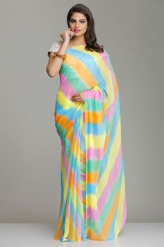 Multicolored Georgette Hand-Dyed Leheriya Saree