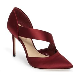 Women's Imagine By Vince Camuto Oya Asymmetrical Pointy Toe Pump A lustrous satin strap arcs diagonally from the d'Orsay pointy toe to the cupped heel of a graceful pump lifted by an impossibly slender stiletto. Wedding High Heels, Bridal Heels, Wedding Shoes, Stiletto Pumps, Women's Pumps, Cool High Heels, Burgundy Pumps, Satin Shoes, Only Shoes