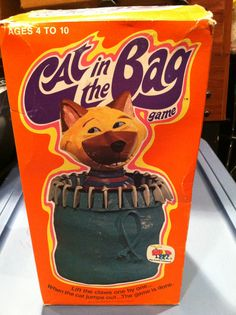 A Cootie Game, Cat In The Bag. Great lettering on box. I love this
