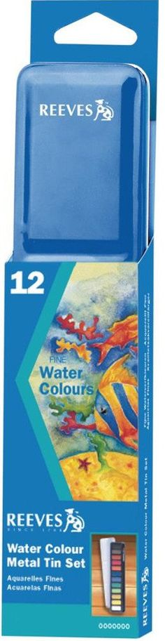 REEVES WATERCOLOR PAINT CAKES 12-PKG BLUE METAL TIN - ASSORTED COLORS!