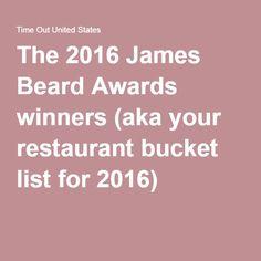 The 2016 James Beard Awards winners (aka your restaurant bucket list for 2016)