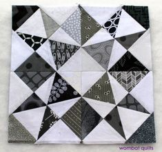 Grey white block by Cath Hall | Wombat Quilts. Atlantic Sea pattern by Quilters Cache.