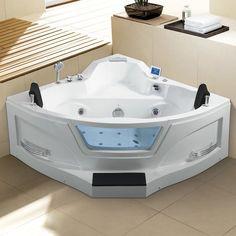 Ariel Bath x Corner Whirlpool Fiberglass Bathtub with Faucet Light Heater Walk In Bathtub, Bathtub Drain, Soaking Bathtubs, Jacuzzi Tub, 2 Person Bathtub, Tub Shower Combo, Shower Tub, Deep Tub, Corner Tub