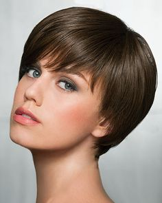 Shop our online store for pixie cut hair wigs for women. These natural hair and synthetic wigs fit mini petite, petite, average and large head sizes. Cropped wig styles include straight, wavy and curly textures in a variety of hair colors and styles. Pixie Cut With Bangs, Wigs With Bangs, Short Hair Cuts, Short Hair Styles, Hair Bangs, Pixie Cuts, Great Haircuts, Hairstyles Haircuts, Bob Haircuts