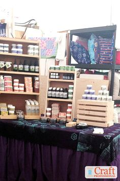 Soap display ideas for craft shows. 9 soap booth photos to spark your imagination. Craft Booth Displays, Display Ideas, Soap Booth, Essential Oil Brands, Soap Display, Luxury Soap, Home Made Soap, Bath Salts, Soap Making