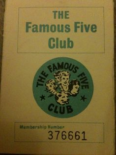 Famous Five Club membership card c.1984