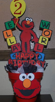 Elmo Centerpiece by OohLalaCreation on Etsy, $17.00 April 4 Birthday, Elmo First Birthday, 3rd Birthday Parties, Boy Birthday, Birthday Ideas, Sesame Street Party, Sesame Street Birthday, Elmo Centerpieces, Sesame Streets